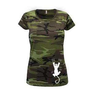 Mačka visiaca - Dámske maskáčové tričko