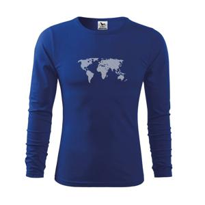 Mapa sveta odtlačok - Tričko detské Long Sleeve