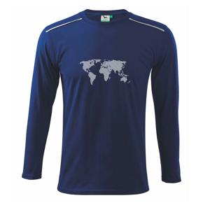 Mapa sveta odtlačok - Tričko s dlhým rukávom Long Sleeve