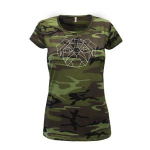 Mops - Geometria - jednoduchý - Dámske maskáčové tričko