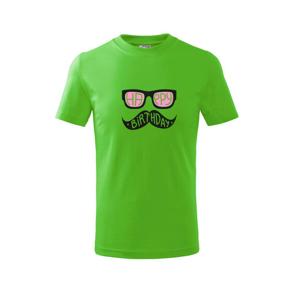 Mustache narozeniny - okuliare - Tričko detské basic