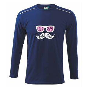 Mustache narozeniny - okuliare - Tričko s dlhým rukávom Long Sleeve