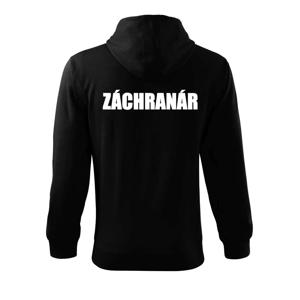 Nápis Záchranár + hviezda - Mikina s kapucňou na zips trendy zipper