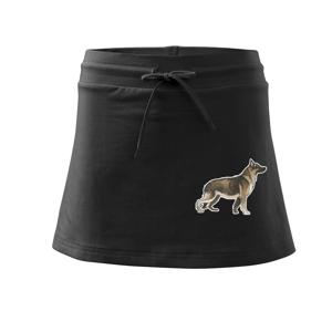 Nemecký ovčiak - hnedý kreslený - Športová sukne - two in one