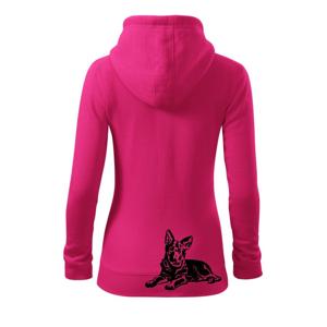 Nemecký ovčiak - šteňa - Mikina dámska trendy zipper s kapucňou