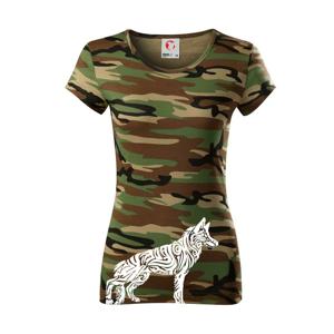 Nemecký ovčiak - tattoo - Dámske maskáčové tričko