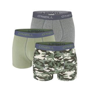 O'NEILL - 3PACK camo army green & gray boxerky z organickej bavlny-M (82-88 cm)