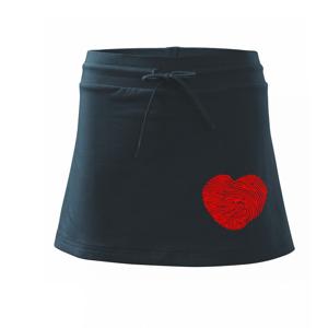 Odtlačok prsta srdce - Športová sukne - two in one