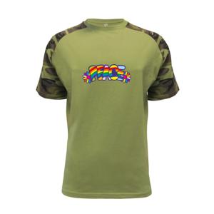Peace nápis dúhový - Raglan Military