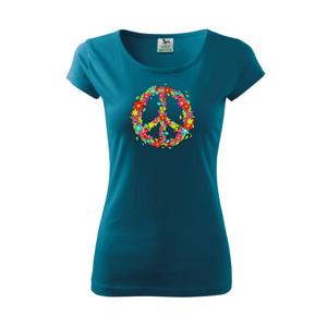 Peace symbol červené kvety - Pure dámske tričko