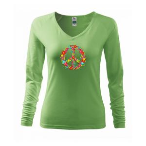 Peace symbol červené kvety - Tričko dámske Elegance