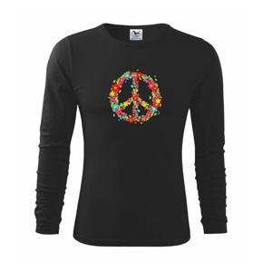 Peace symbol červené kvety - Tričko detské Long Sleeve