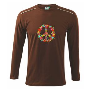 Peace symbol červené kvety - Tričko s dlhým rukávom Long Sleeve