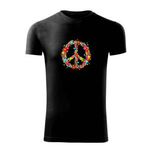 Peace symbol červené kvety - Viper FIT pánske tričko