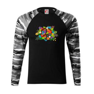 Peace symbol prerastený kvetinami - Camouflage LS