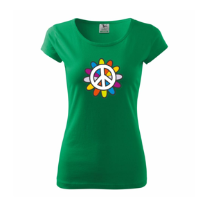 Peace symbol s kreslenou kvetinou - Pure dámske tričko