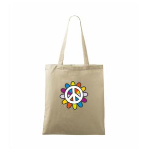 Peace symbol s kreslenou kvetinou - Taška malá