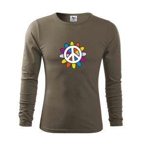 Peace symbol s kreslenou kvetinou - Tričko s dlhým rukávom FIT-T long sleeve