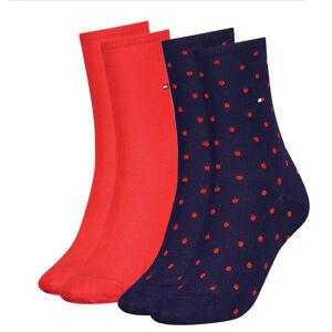 TOMMY HILFIGER - 2PACK red & navy dots ponožky-35-38