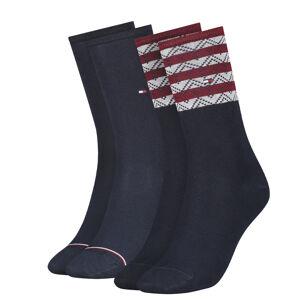 TOMMY HILFIGER - 2PACK folk stripe navy&red dámske ponožky -35-38