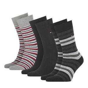 TOMMY HILFIGER - 3PACK TH men Tommy logo black ponožky v darčekovom balení -39-42