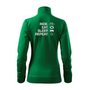 Ride Eat Sleep Repeat bicykel - Mikina dámska Viva bez kapucne