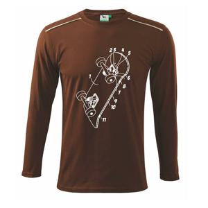Skateboard nákres dosky - Tričko s dlhým rukávom Long Sleeve