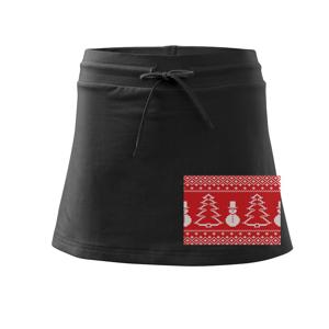 Sveter snehuliak sa stromom - Športová sukne - two in one