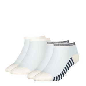 TOMMY HILFIGER - 2PACK summer stripes biele členkové ponožky-39-42