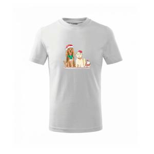 Veselé vianoce - pes, škrečok a mačka - Tričko detské basic