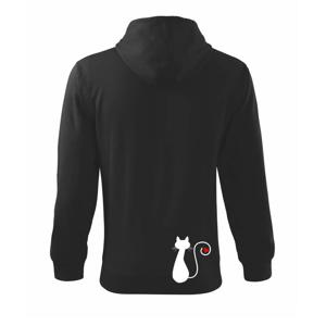 Zamilovaná mačka chvostík - Mikina s kapucňou na zips trendy zipper